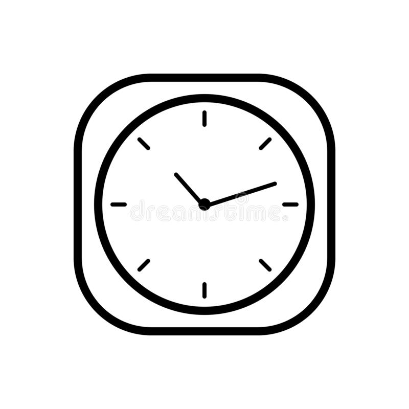 Black line icon for Clock, time and watch royalty free illustration