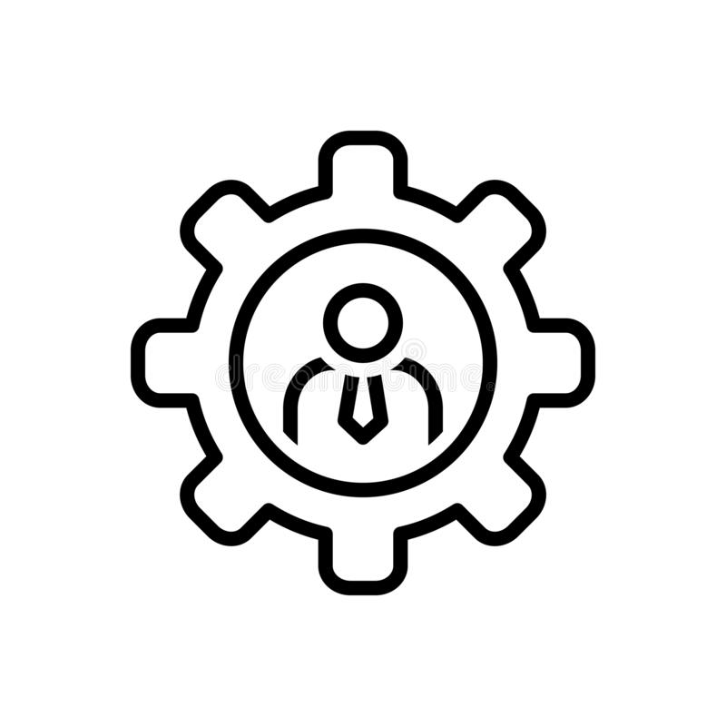 Black line icon for Competence, competency and capacity. Black line icon for Competence, mightiness, appropriateness, suitability,  competency and capacity royalty free illustration