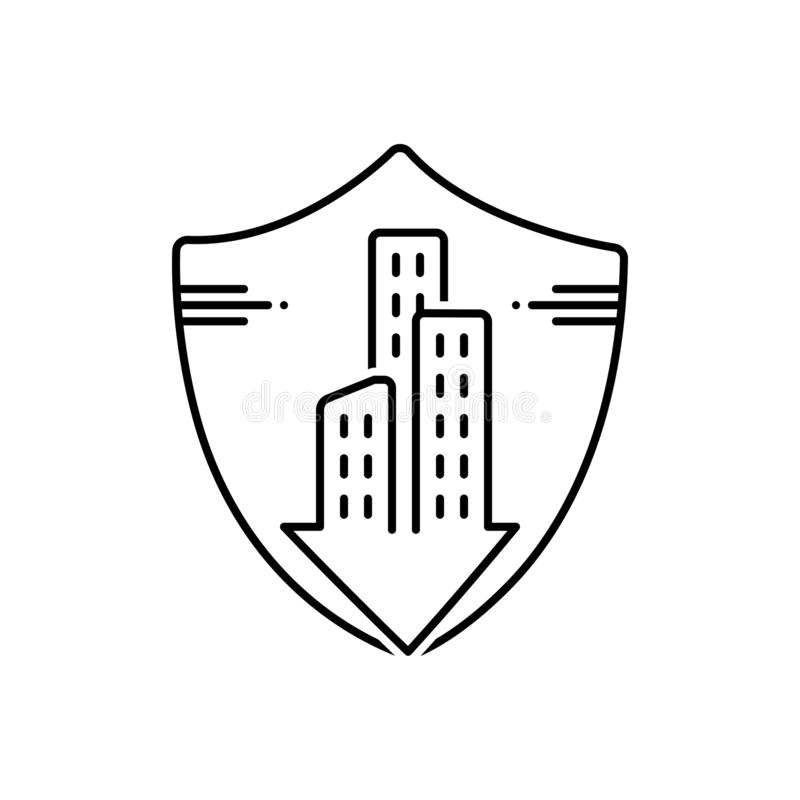 Black line icon for Condo, insurance, and accommodation. Black line icon for Condo, insurance, modern, condo and accommodation royalty free illustration