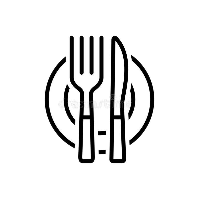 Black line icon for Cutlery, food and silverware stock illustration