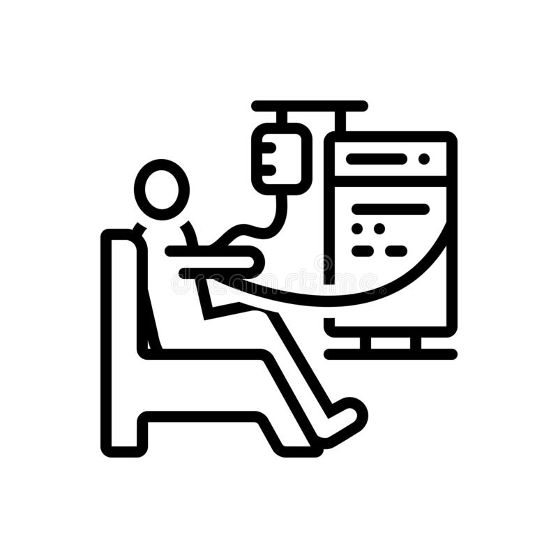 Black line icon for Dialysis, kidney and medical royalty free illustration
