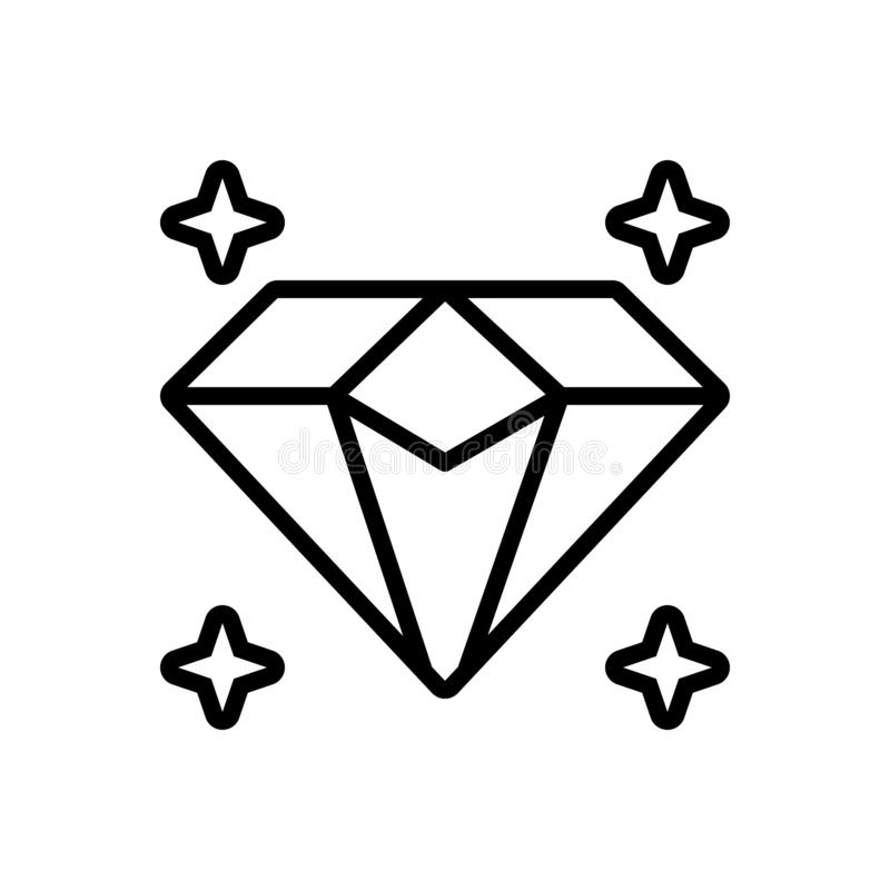 Black line icon for Diamond, sparkler and shiner. Black line icon for Diamond, luxury, precious, jewel, gem, ornament,  sparkler and shiner royalty free illustration