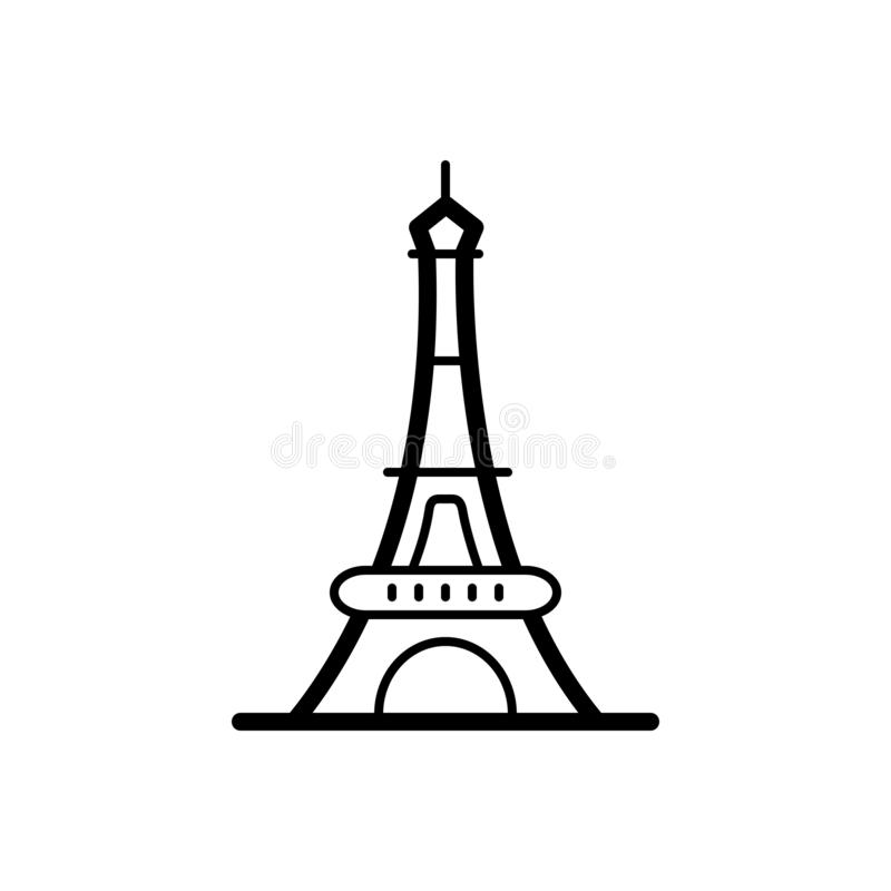 Black line icon for Eiffel tower, paris and france royalty free illustration