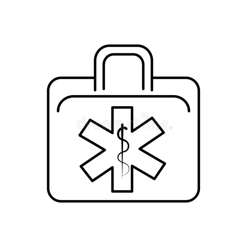 Black line icon for EMS, emt and ambulance. Black line icon for EMS, paremedic, training, first, responders, miscellaneous, emt and ambulance vector illustration