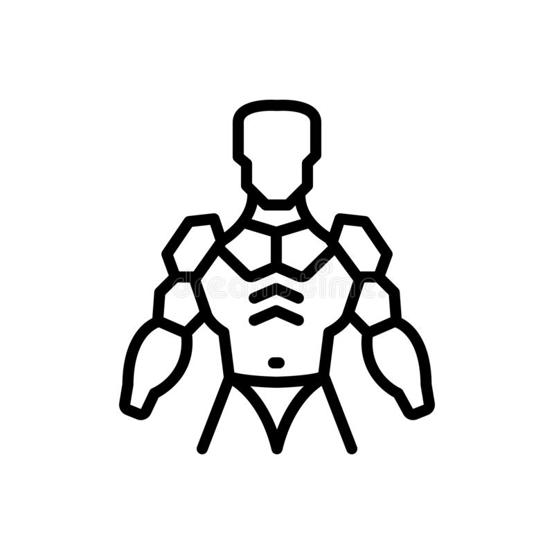 Black line icon for Exoskeleton, armor and armour. Black line icon for Exoskeleton, cyborg, external, fight, skeleton, soldier, warrior,  armor and armour vector illustration