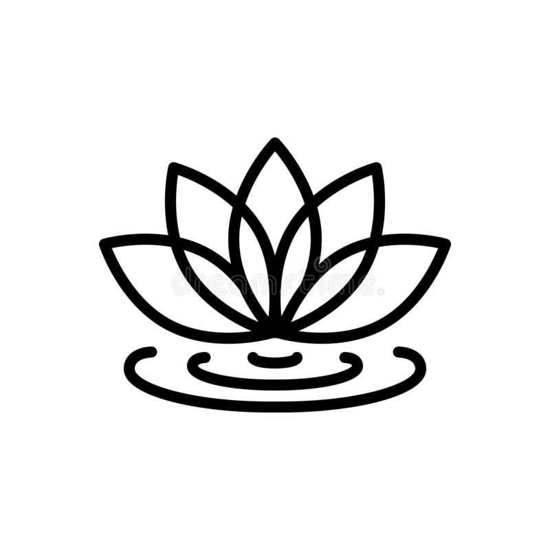 Free Black Line Icon For Lotus Flower, Spa And Meditation Royalty Free Stock Photo - 169821915
