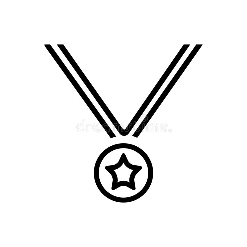 Black line icon for Medal, award and business royalty free illustration