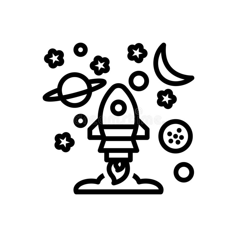 Black line icon for Mission, task and spacecraft stock illustration