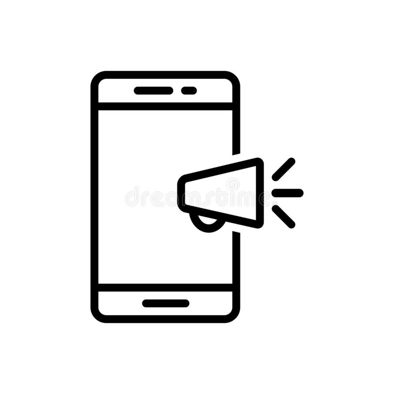 Black line icon for Mobile marketing, seo and advertising vector illustration