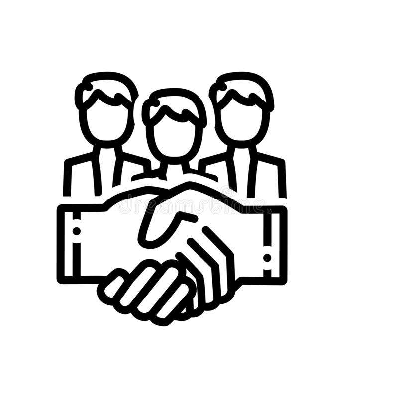 Black line icon for Partnership, collaboration and shaking. Black line icon for partnership, handshake, hand, logo, collaboration and shaking stock illustration