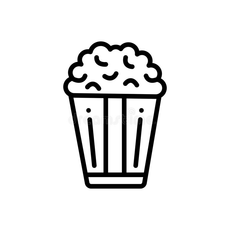 Black line icon for Popcorn, and snack. Black line icon for Popcorn, corn, crunchy, unhealthy and snack stock illustration