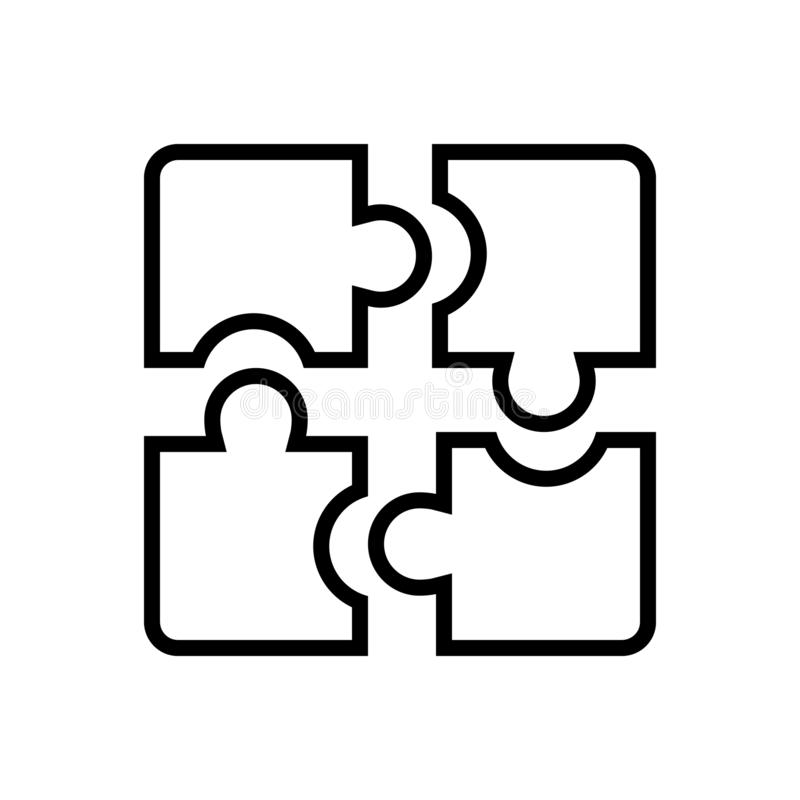 Black line icon for Puzzle, pieces and solution stock illustration