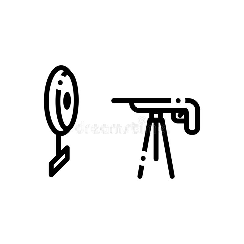 Black line icon for Rifle Shooting, gun and target royalty free illustration