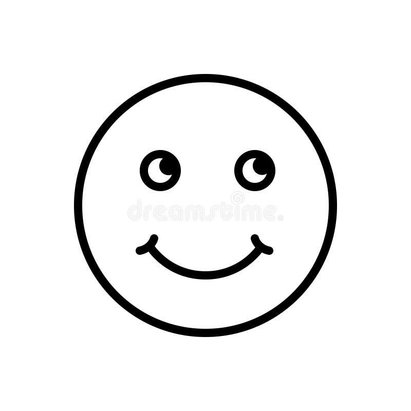 Black line icon for Smile, grin and emotion. Black line icon for Smile, grin, deride, jest, symbol and emotion vector illustration