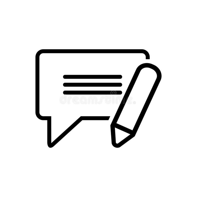 Black line icon for Sms, message and information vector illustration