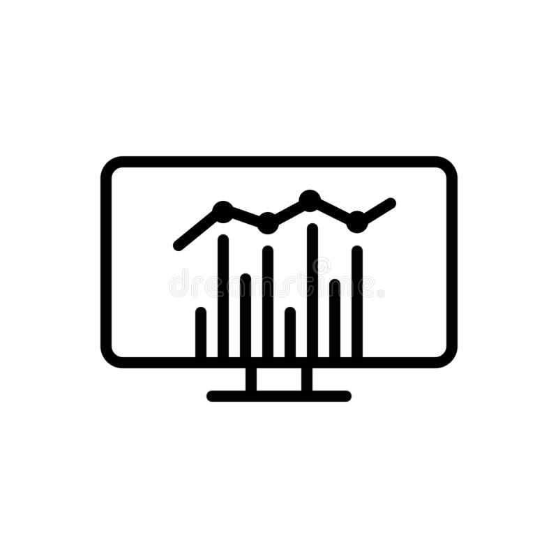 Black line icon for Statistics, report and analytics royalty free illustration