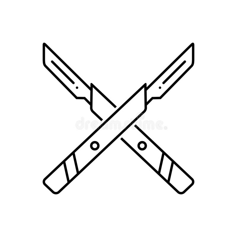 Black line icon for Surgery knife, equipment and surgical royalty free illustration