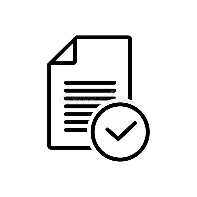 Black line icon for Task, busines and finished. Black line icon for Task, finished, completed, done, success and busines royalty free illustration