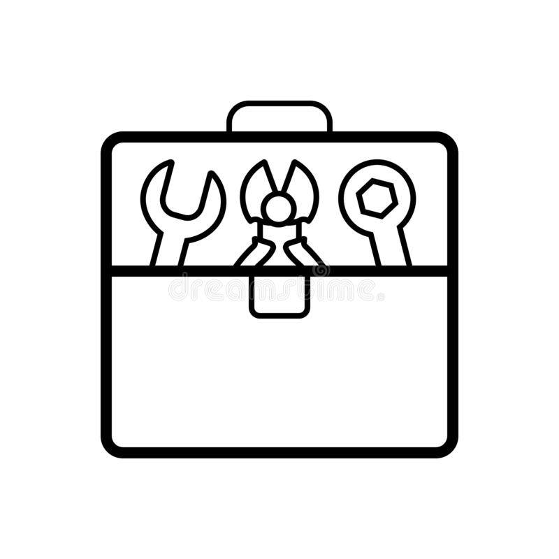 Black line icon for Toolbox, repairing and kit royalty free illustration
