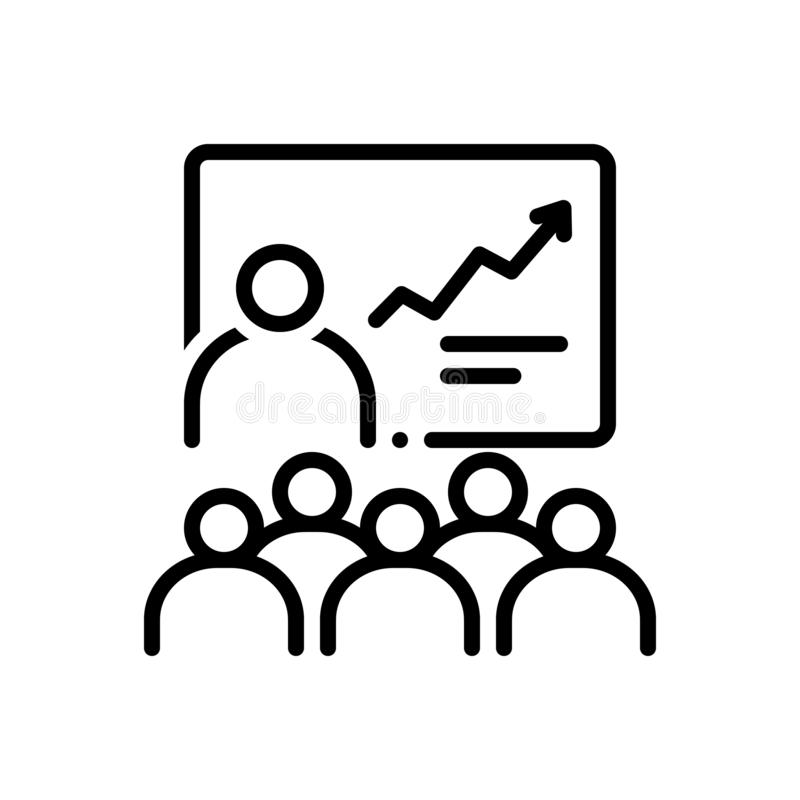 Black line icon for Training, learning and instructor vector illustration