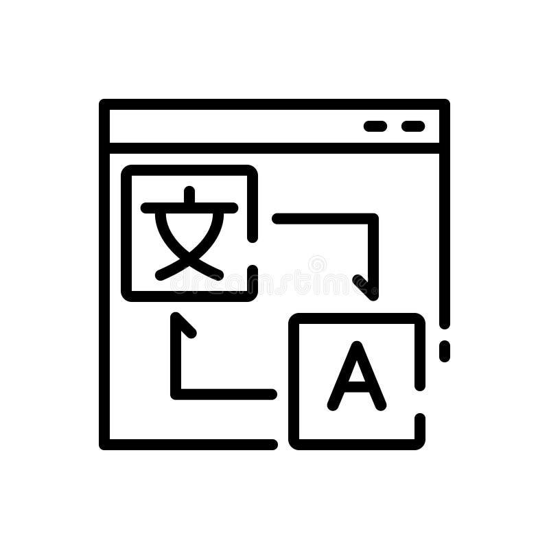 Black line icon for Translation, Localization and communication royalty free illustration