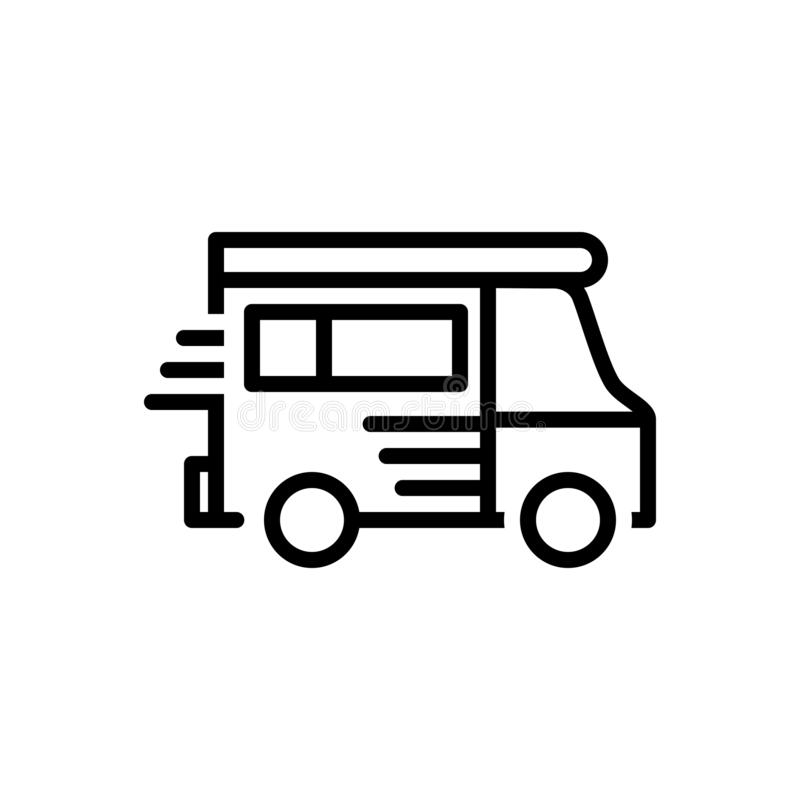 Black line icon for Van, motor, vehicle and conveyance. Black line icon for Van, carriage, motor, transportation, vehicle and conveyance vector illustration