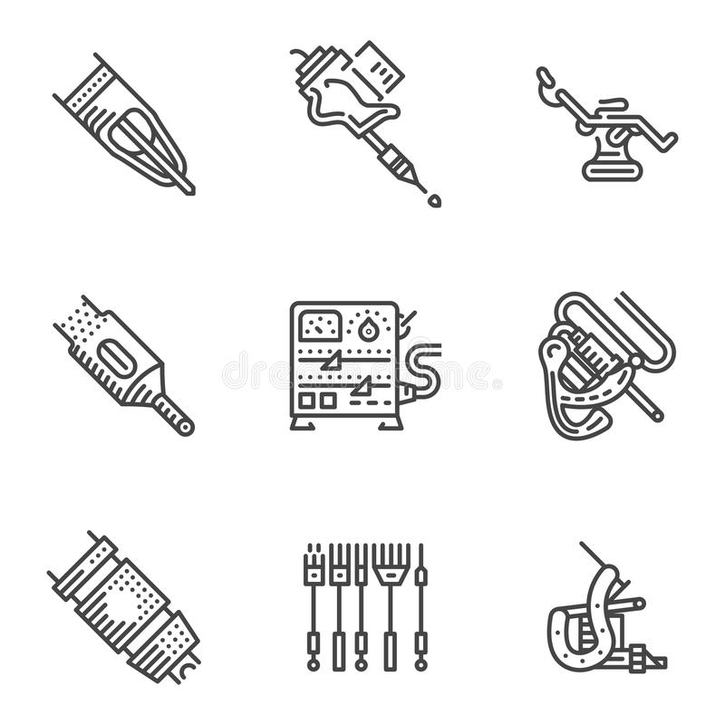 Tattoo Machine Line Drawing : Black line icons for tattoo equipment stock illustration