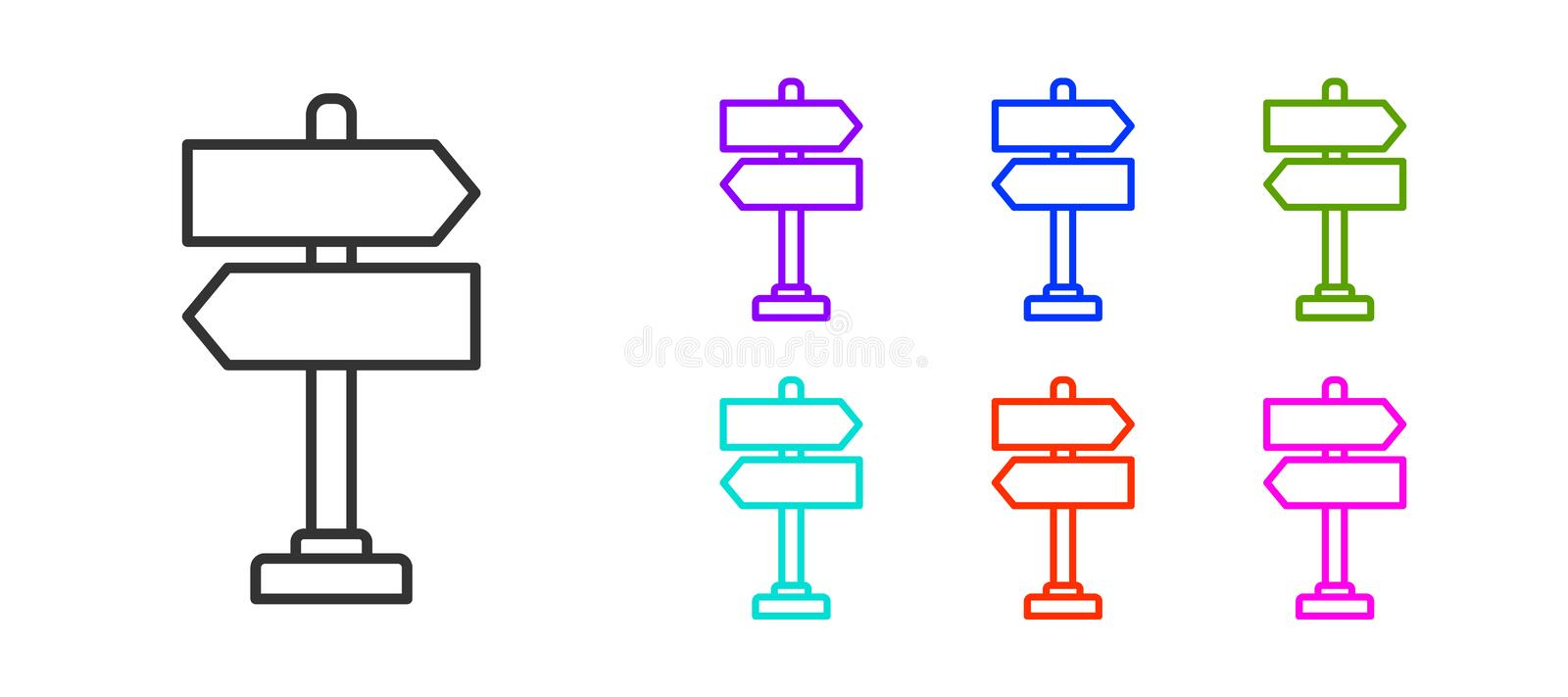 Black line Road traffic sign. Signpost icon isolated on white background. Pointer symbol. Isolated street information. Sign. Direction sign. Set icons colorful vector illustration