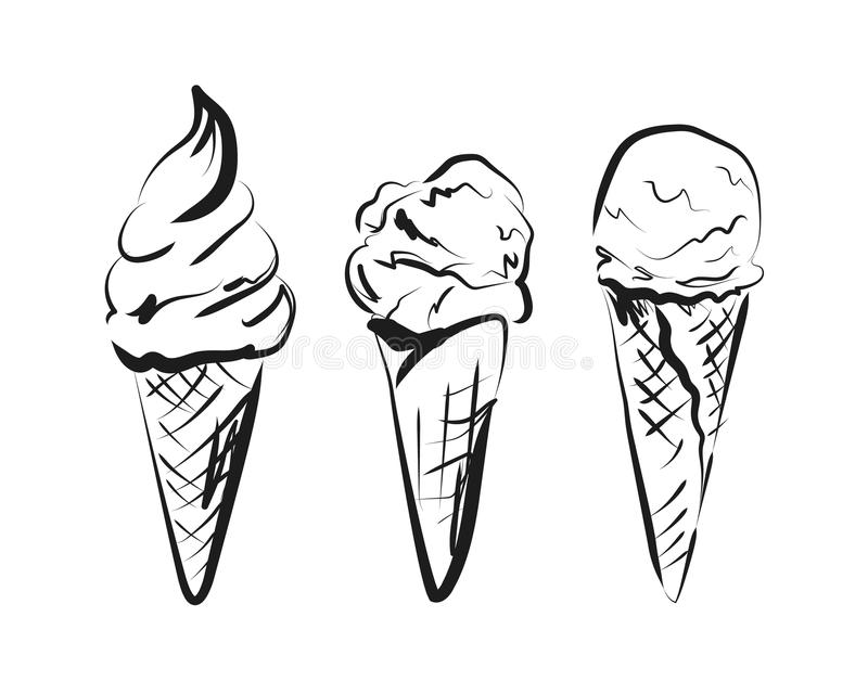 Vector sketch ice cream in cone stock images