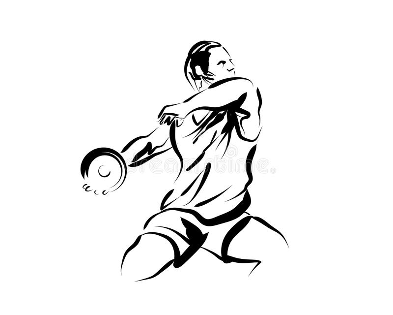 Vector sketch thrower disc stock photography