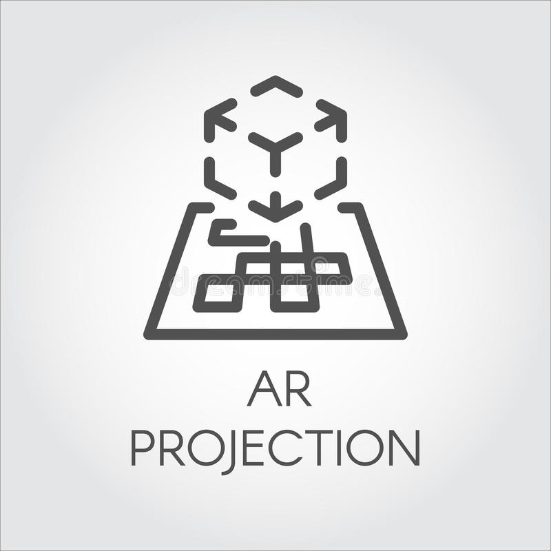 Black Line Vector Icon Augmented Reality Digital AR Technology Future. Stock Vector ...