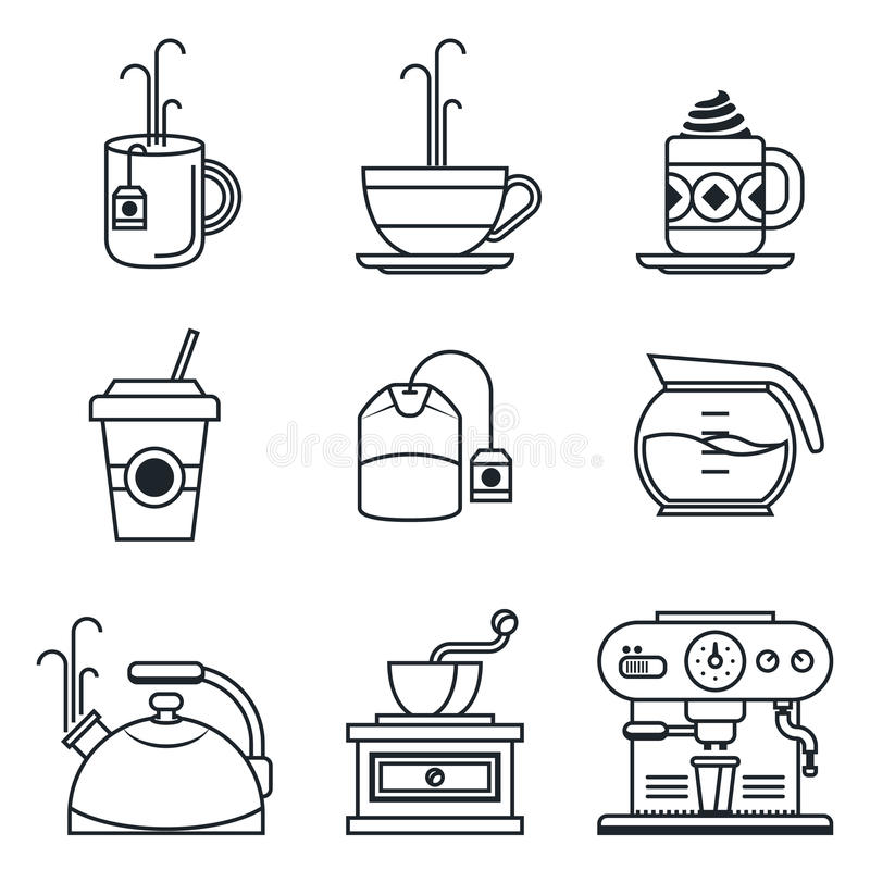 Black lineart icon set. Coffee, tea, cup, devices royalty free illustration