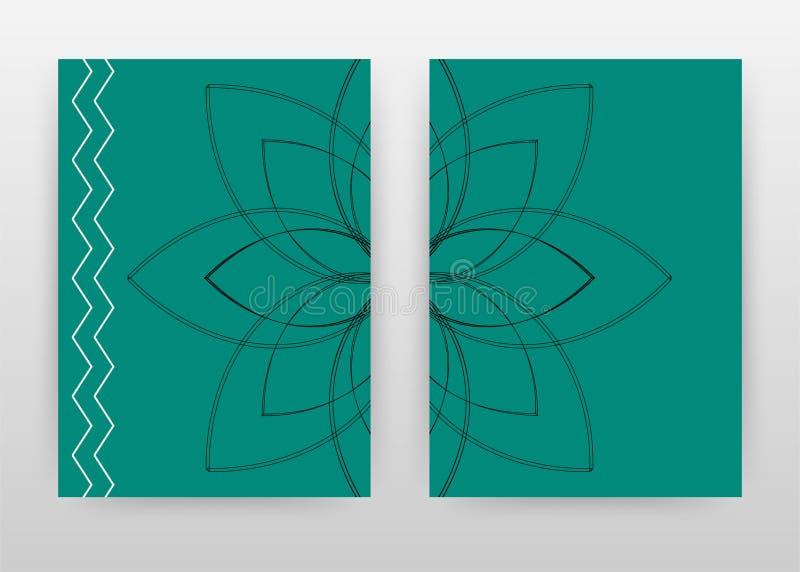 Black lined flower petal on green design for annual report, brochure, flyer, poster. Green background vector illustration for. Flyer, leaflet, poster. Business royalty free illustration