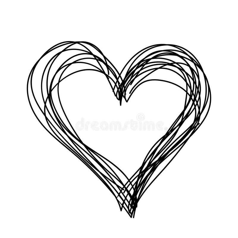 Simple Heart Line Art : Vector simple heart black and white children hand drawn