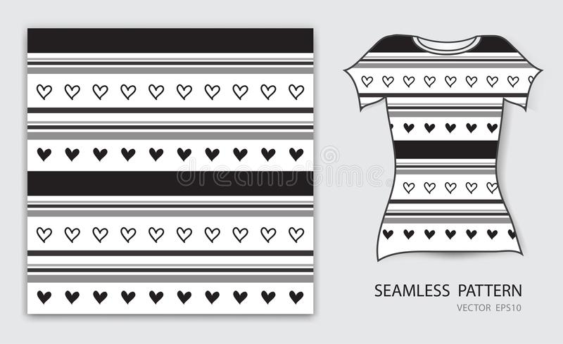 Black lines and heart seamless pattern vector illustration, t shirt design, fabric texture, patterned clothing royalty free illustration