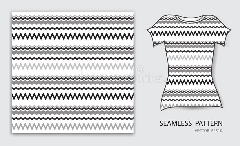 Black lines wave seamless pattern vector illustration, t shirt design, fabric texture, patterned clothing. Abstract background vector illustration