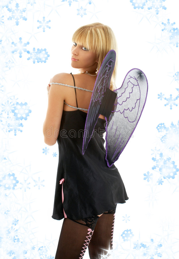 Black lingerie angel blond with snowflakes
