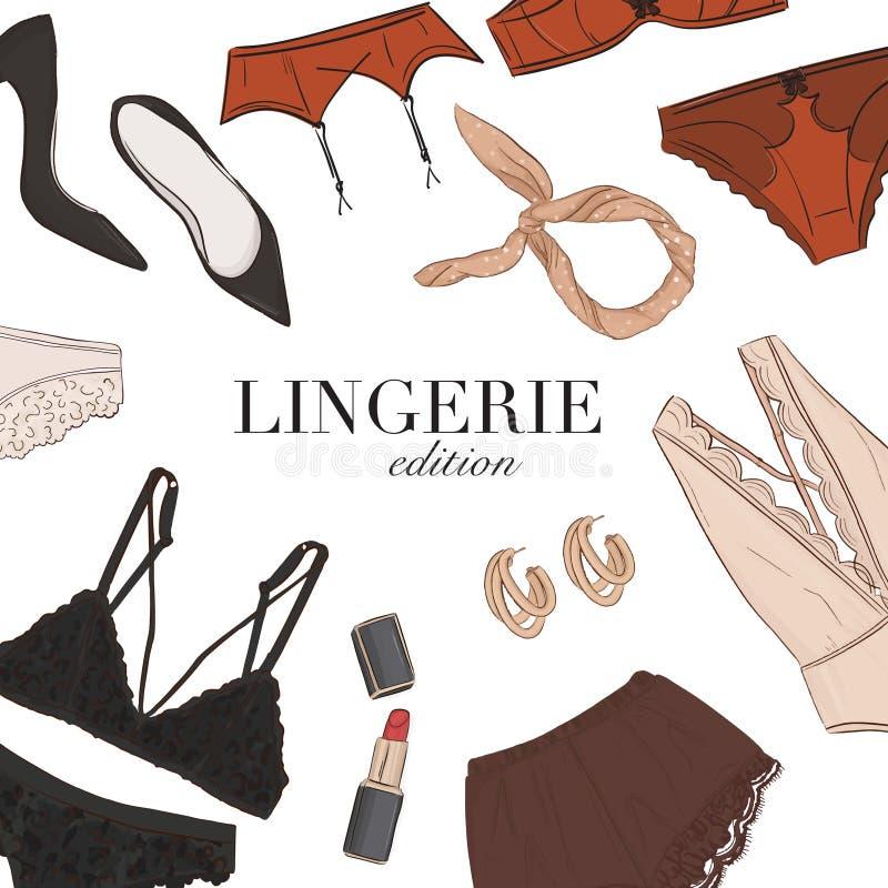 Free Black Lingerie Underwear, Bra Panties Set Hand-drawn Illustration Template: Sleepwear, Jewerly Womens Fashion Clothing Boutique Stock Photos - 171295933