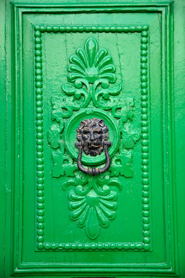Black Lion Head Door Knocker royalty free stock photo