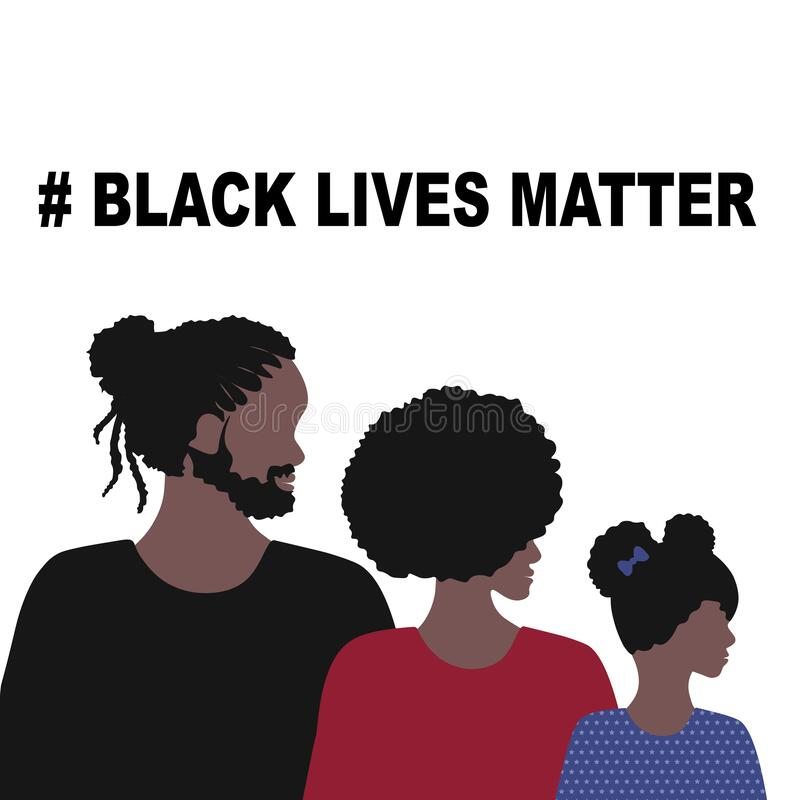 Free Black Lives Matter And  I Can`t Breathe Concept. Vector Illustration, Young African Americans Family Against Racism, Protest Stock Images - 185686054