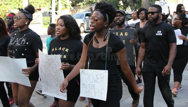 Black Lives Matter, Police Protest, Charleston, SC. Protesters march around Marion Square in Charleston, SC at part of an organized protest held by Black Lives royalty free stock photography