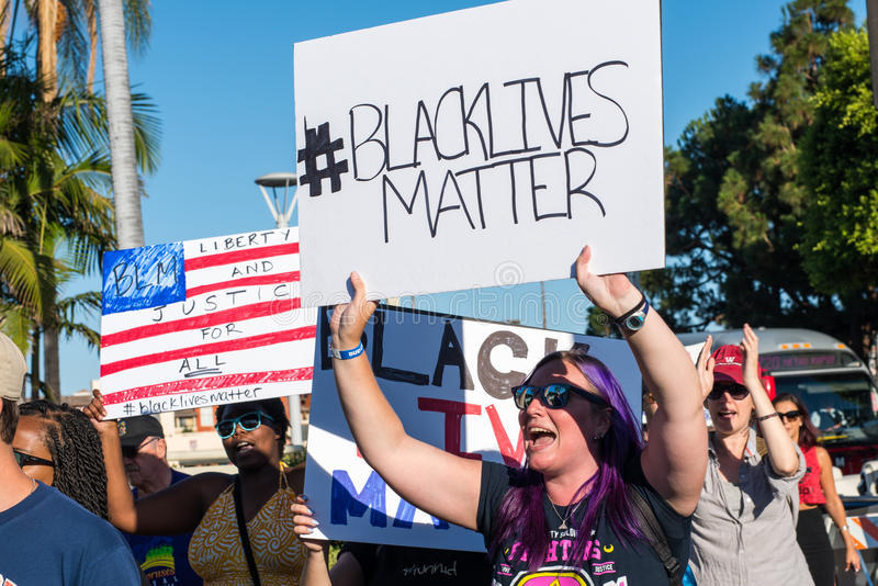 Black Lives Matter Protest. Los Angeles, CA/USA: 7/10/2016: Black Lives Matter protesters in the Los Angeles Fairfax district. A few hundred activists from Black stock images