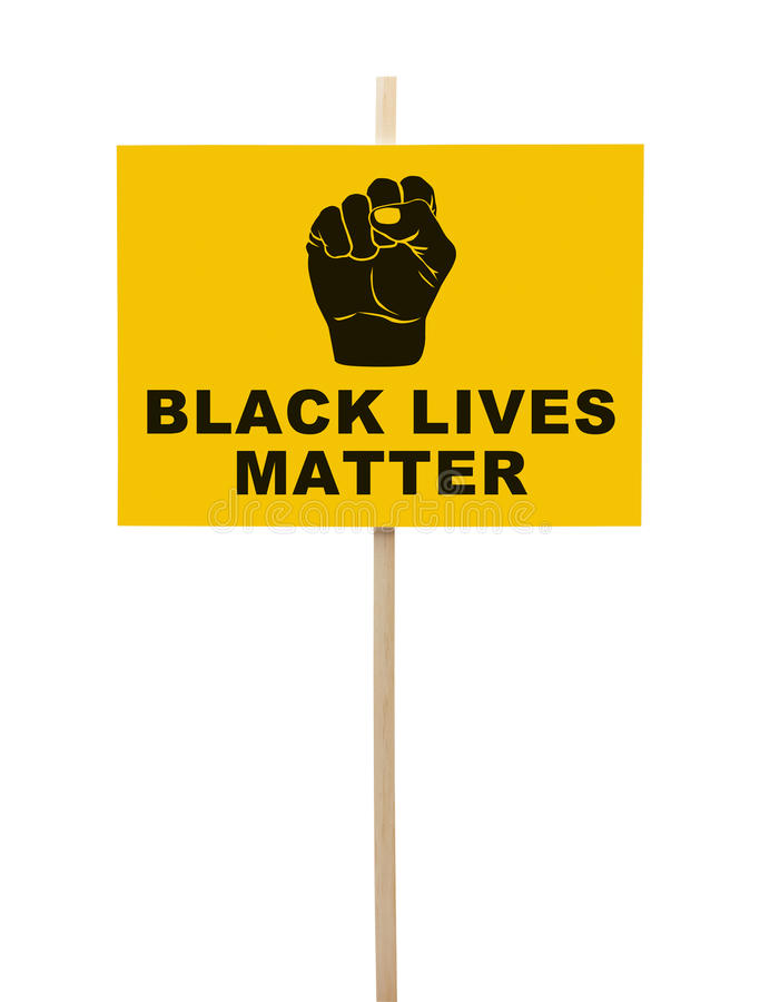 Black Lives Matter Protest Sign. Black Lives Matter Sign With Fist Isolated on White stock photo