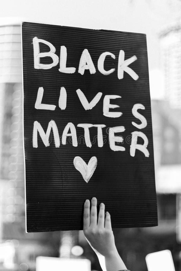 Black lives matter. A sign in a Black Lives Matter demonstration on Seattle, Washington royalty free stock photo
