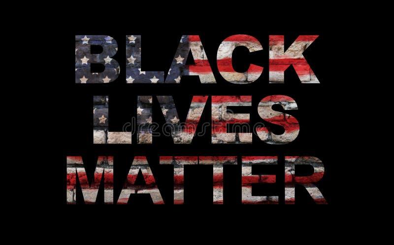 Black lives matter slogan on American flag. Black background royalty free stock image