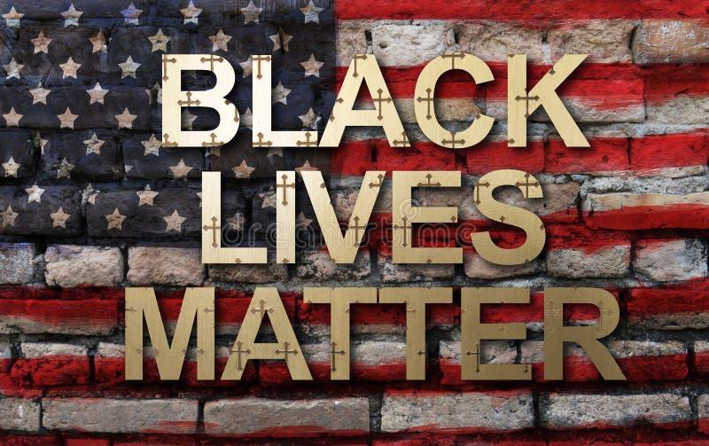 Black lives matter slogan on American flag. Wall background stock image