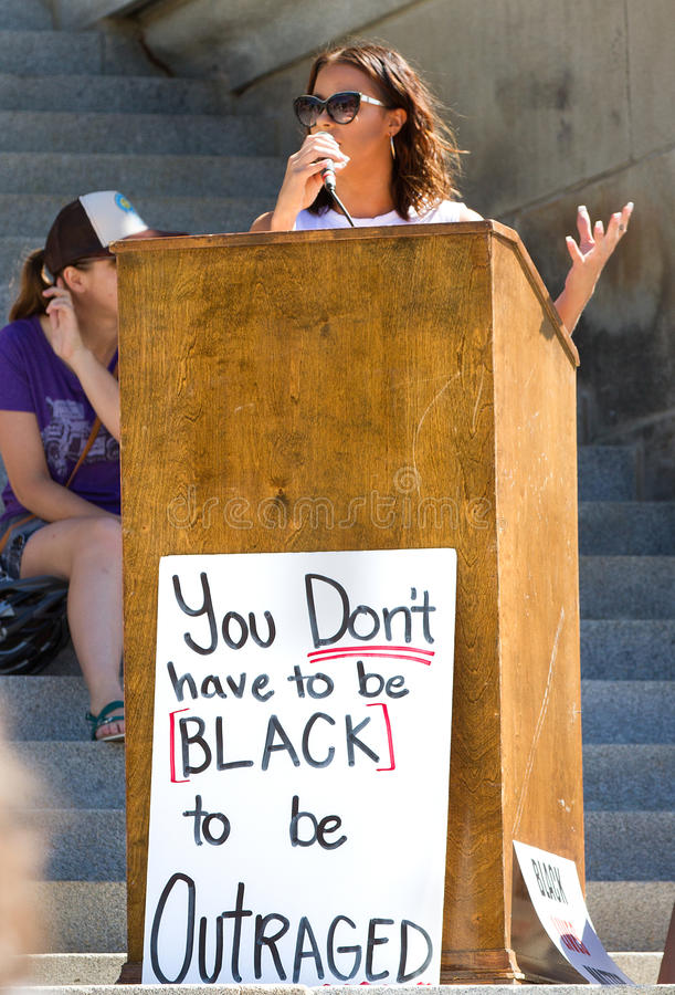 Black lives matter speaker at the capital stock photography