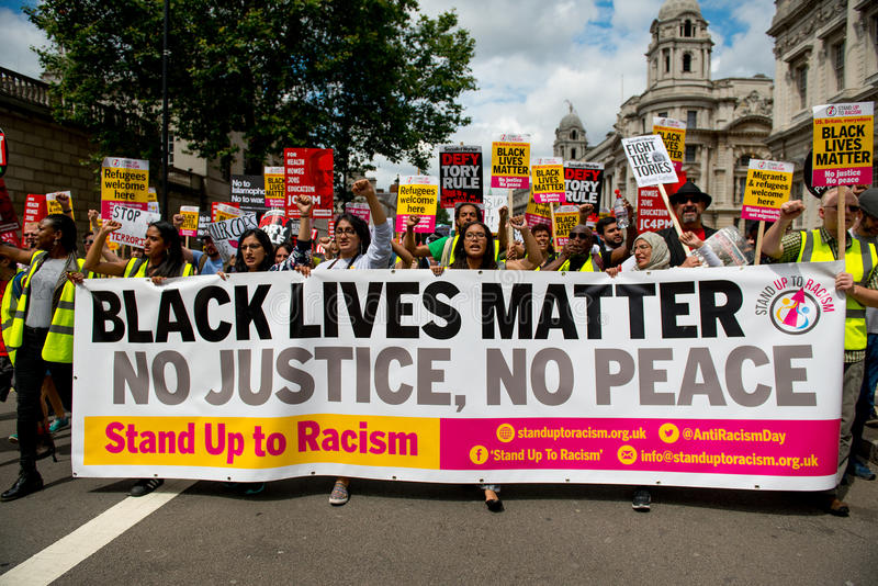 Black Lives Matter / Stand Up Racism Protest March stock photo