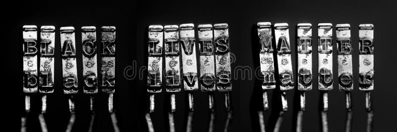 Black lives matter text typwriter stock images