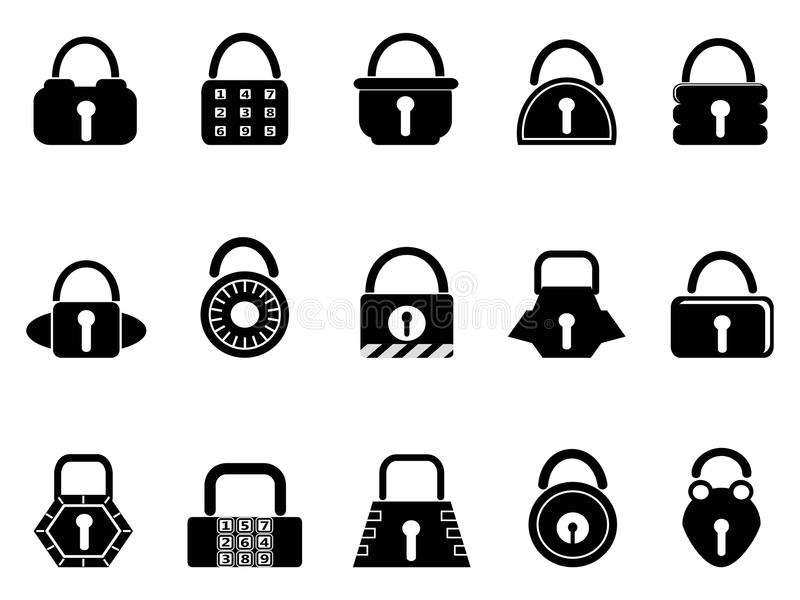 Download Black lock icons set stock vector. Image of round, close - 26439242